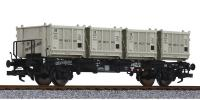 L235120 Liliput Flat Wagon BT55 number 015 314 in DB livery with 4 containers