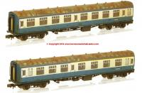 374-990 Graham Farish Mk1 Coach Pack 'Works Test Train' BR Blue & Grey Weathered