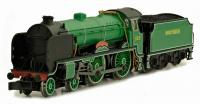"2S-002-003 Dapol Schools Class 4-4-0 Steam Locomotive number 929 named ""Malvery"" in Malachite Green livery"