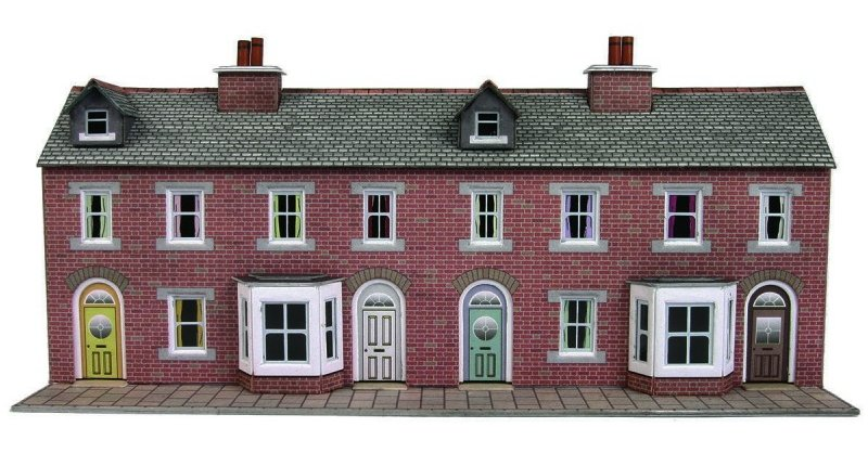 Pn174 Metcalfe Low Relief Terraced House Fronts Kit Red