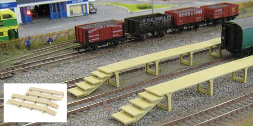 Contains OO Scale pre-coloured plastic kit with full instructions. These pre-coloured concrete platforms were seen in many locations and used by staff to clean the insides of coaching stock. Supplied as a pair or joined to make one long platform. Built-up