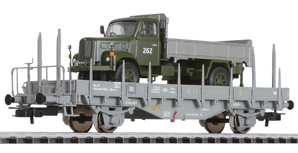 L235047 Liliput Flat Wagon with Wood Stanchions & Military Truck SBB Ep.IV