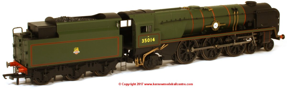 "R3566 Hornby Merchant Navy Class Steam Locomotive number 35014 named ""Nederland Line"" in BR Green livery with Late Crest"