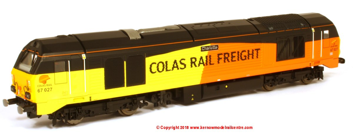 "R3659 Hornby Class 67 Diesel Locomotive number 67 027 named ""Charlotte"" in Colas livery - Era 11"