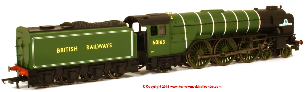 R3663TTS Hornby Railroad Peppercorn A1 Class Steam Locomotive number 60103 named 'Tornado' in LNER Green livery with BRITISH RAILWAYS branding