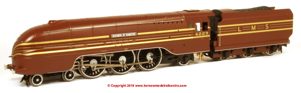 R3677 Hornby Princess Coronation Class Steam Locomotive number 6229 named 'Duchess of Hamilton' in LMS Crimson livery