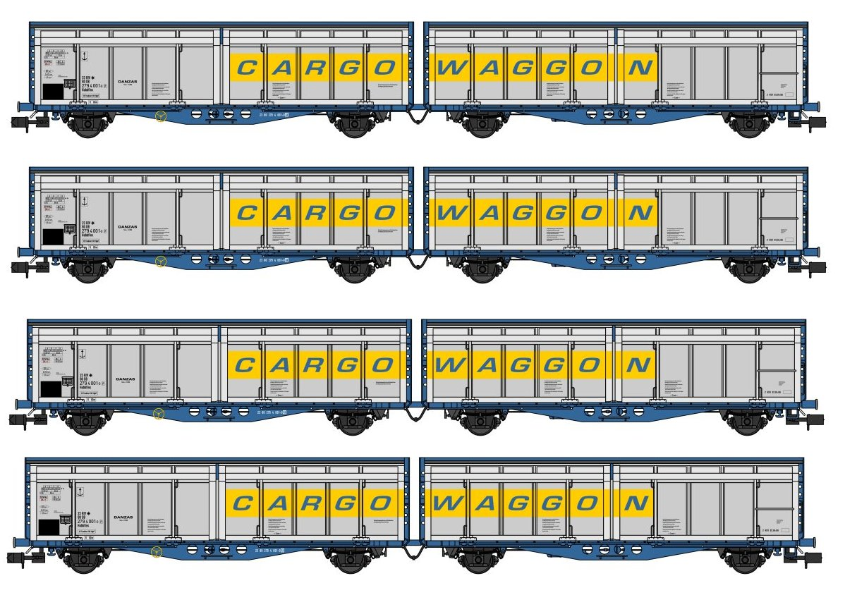 SB008F Revolution Trains IZA Cargowaggon Twin Bulk Pack in orignal livery