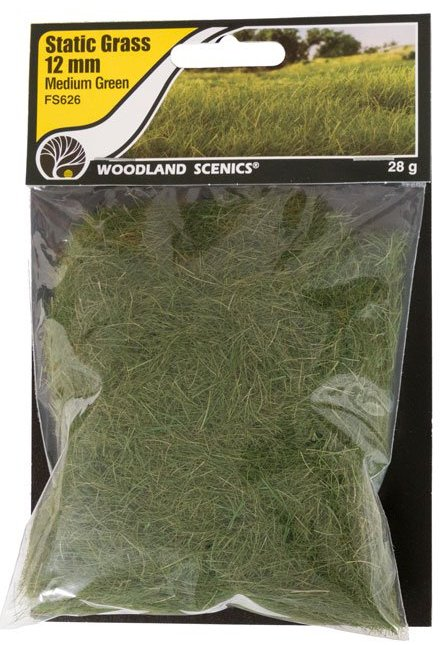 FS626 Woodland Scenics 12mm Static Grass Medium Green