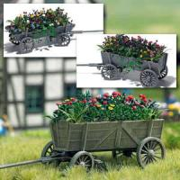 1228 Busch Wooden Cart With Flowers