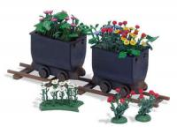 1253 Busch 2 Tipper Wagons With Flowers