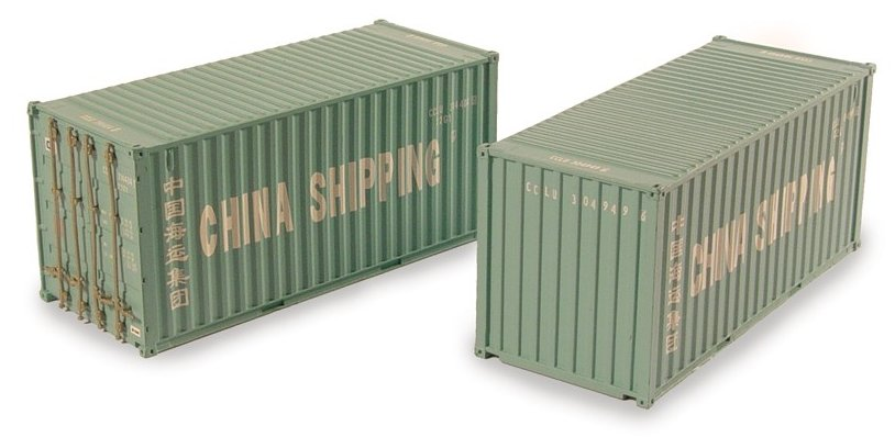 36-125 Bachmann 20ft Containers in China Shipping livery (Pack 2)