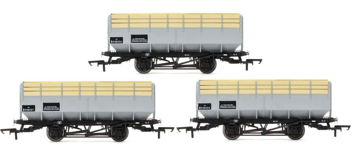 R6783 Hornby LMS 20 Ton Coke Hopper Wagons BR Grey Triple Pack