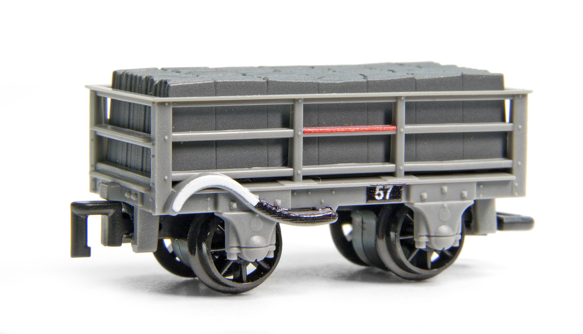 GR-321 Peco 2 Ton Slate Wagons in Grey livery - braked