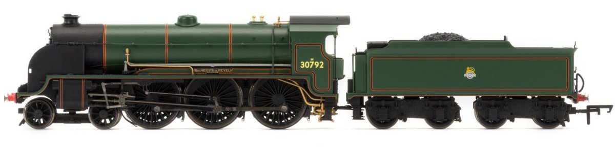 "R3456 Hornby N15 King Arthur Class Steam Locomotive number 30792 named ""Sir Hervis de Revel"" in BR Green livery with early emblem"