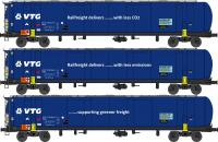 RN006 Revolution Trains TEA 100 Tonne Tank Wagon Triple Pack in VTG Blue livery with enviro message