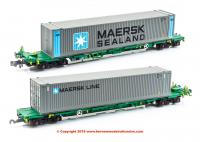 377-369 Graham Farish FIA Intermodal Bogie Wagons With 'Maersk line' 45ft Containers - Includes Wagon