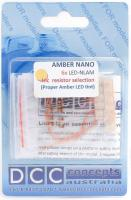 LED-NLAM DCC Concepts NANO LED Amber.  Pack of 6 0.8mm LEDs complete with resistors
