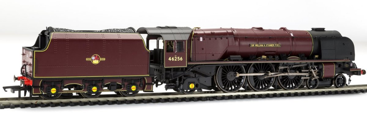 "R3555 Hornby Princess Coronation Class Steam Locomotive number 46256 named ""Sir William A Stanier FRS"" in Maroon livery with Late Crest"